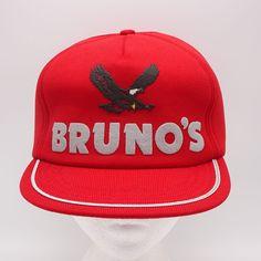 Bruno s Vintage Hat - Made in USA - Red Snapback Cap - Full Foam  NewtonMfg   BaseballCap 4e24b39eda2b