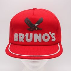 f130c59b115 Bruno s Vintage Hat - Made in USA - Red Snapback Cap - Full Foam  NewtonMfg   BaseballCap
