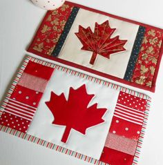 Canadian Flag (Maple Leaf) Mug Rug. Perfect for Canadian holidays - but good for any other day too due to the Maple Leaf design. Quilting Tips, Quilting Projects, Quilting Designs, Sewing Projects, Beginner Quilting, Art Quilting, Quilt Design, Yarn Projects, Sewing Crafts
