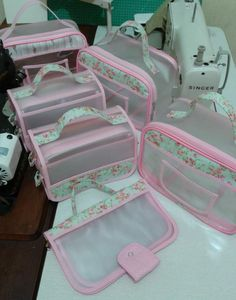 Best 12 Pink diaper bag pretty little trees girly baby bag organizer Shoe Bags For Travel, Travel Shoes, Transparent Bag, Pouch Pattern, Patchwork Bags, Sewing Projects For Beginners, Bag Organization, Toiletry Bag, Sewing Crafts