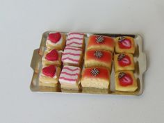 Dollhouse miniature food, strawberry treats on a tea tray, miniature bakery, one inch scale by MagentaMinis on Etsy