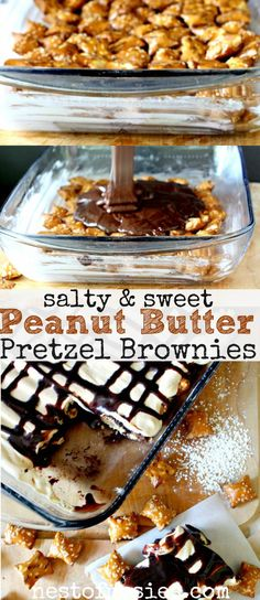The best brownies I've ever made. Sweet and Salty Peanut Butter Pretzel Brownies made with a brownie mix, but wait until you hear the easy homemade topping!(Best Brownies From A Box) Sweet Desserts, Just Desserts, Sweet Recipes, Delicious Desserts, Dessert Recipes, Yummy Food, Dessert Bars, Best Brownies, Pretzel Brownies