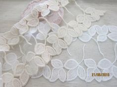 1yard-Cotton Embroidered Lace/NBDL22-Leaves by msgardengrove1