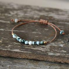 Handmade Natural Jasper Boho Bracelet Wax Cord