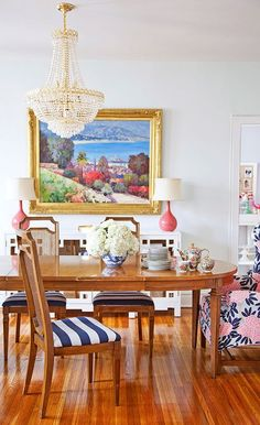 I like the ecclectic / sort of antique dining room.  Not sure about the floor color? #dining #kitchen #homedecor