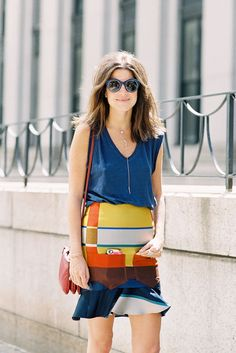 colourful striped skirt by Leandra Medine of @Mandy Bhear Repeller