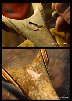 Copper Inlay into a Custom Fly Fishing Net by Sierra Nets.