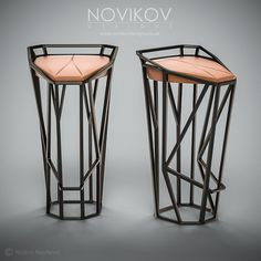 Octa Stool - Dark brown metallic frame with orange leather seat by Novikov Designs www.novikovdesigns.co.uk