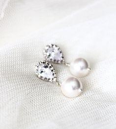 Pearl Wedding Earrings White Ivory Swarovski Crystal Pearl Bridal Earrings Bridesmaid Gift Drop Earrings Wedding Jewelry bridal party gift