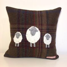 Ewe and lambs tweed cushion Felt Pictures, Fabric Pictures, Applique Cushions, Wool Applique, Fabric Crafts, Sewing Crafts, Sewing Projects, Crafts To Make, Easy Crafts