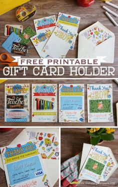 Teacher Gift Idea for the Last Day of School - Free Printable Gift Card Holders
