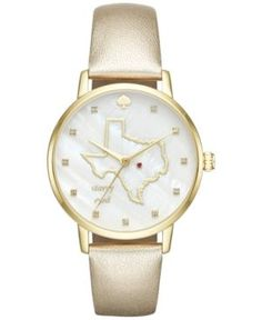 kate spade new york Women's Metro Texas Gold-Tone Leather Strap Watch 34mm KSW1299 - Gold