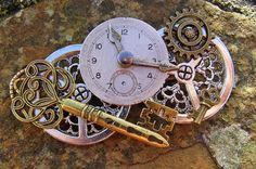 Key of Time, Steampunk Cogs and Key Brooch Pin Badge Handmade Arts and Craft by ArtandThingsUK on Etsy