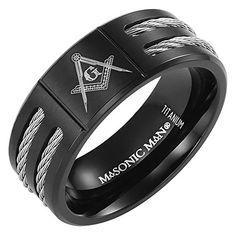 MasonicMan New Mens Black Titanium Masonic Ring Latin Engraving Inside - Jewelry, Fashion, Life Band Rings Women, Rings For Men, Freemason Ring, Masonic Jewelry, Viking Jewelry, Skull Jewelry, Skull Rings, Jewlery, Mens Stainless Steel Rings