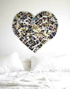 déco avec photos Polaroïds en coeur