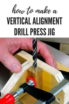 How to Make a Vertical Alignment Drill Press Jig - Use this simple drill press jig for increased accuracy. Must Have Woodworking Tools, Woodworking Jig Plans, Woodworking Tools For Beginners, Woodworking Furniture Plans, Woodworking Workshop, Woodworking Techniques, Woodworking Projects Diy, Woodworking Drill Press, Woodworking Chisels