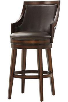 Elegant Wood and Leather Swivel Bar Stools