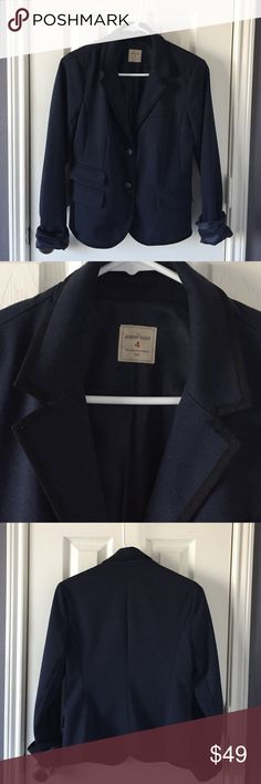 NEW LISTING!! Gap navy Academy Blazer Navy academy blazer from the Gap.Size 4 and in great condition. Materials: 77% Polyester, 15% Viscose, 8% Spandex. GAP Jackets & Coats Blazers