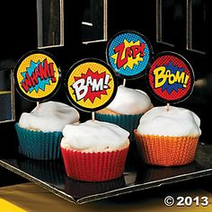 Superhero Cupcake Liners With Picks, Cupcake Liners, Party Tableware, Party Supplies, Cake Decorating Supplies - Oriental Trading