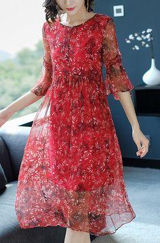 Casual O-Neck Flare Sleeve Silk Print Skater Dress