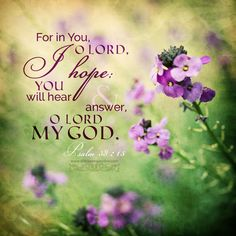 For in You, O Lord, I hope; You will hear and answer, O Lord my God. Psa 38:15 <3