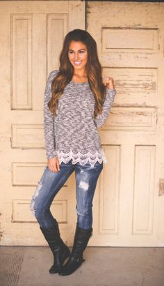 Crochet Bottom Knit Sweater  paired with jeans (y'all know Iove my jeans) and boots. Can beat this cute and simple look for Fall