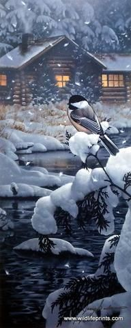 In Jerry Gadamus's print Cabin Creek Chickadee, a cute little bird sits on a snow-covered pine tree, quite a contrast to the warmth of the cozy log cabin.