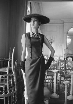 """""""1955 dress, Autumn-Winter 1954 Haute-Couture collection, H line."""" Photo: Mark Shaw, Dior Glamour, Rizzoli New York 2013, courtesy of mptvimages.com  - The Cut"""