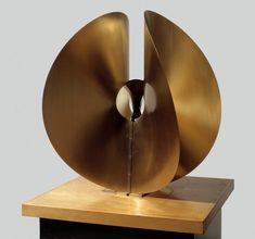 Naum Gabo / Bronze Spheric Theme / c. 1960 / phosphor bronze on wooden base
