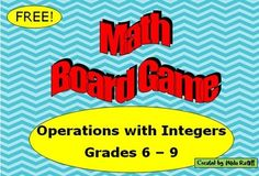 FREE!! This board game provides a fun way for students to practice operations with integers.