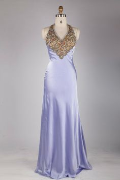 Lilac Crystal Halter Top Backless A-line Satin Prom Dress JSLD0140