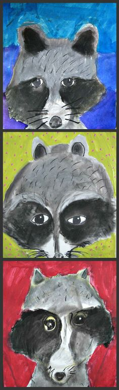 Tie in with authors study with diary of worm, fly and animal study- reading nonfiction. MaryMaking: Raccoon Portraits are delightful! Each of us sees a raccoon differently. Placing the individuals' paintings next to one another makes a great composite! Art Education Lessons, Art Lessons Elementary, Third Grade Art, Animal Art Projects, School Art Projects, Kindergarten Art, Art Lesson Plans, Art Classroom, Art Plastique