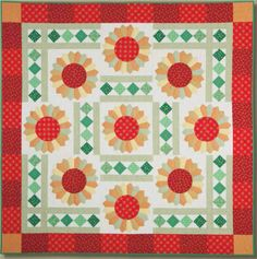 Quilt Kits 404 The requested product does not exist. Sunflower Quilts, Dresden Plate, Plate Design, Quilt Kits, Applique Quilts, Layouts, Curves, Projects To Try, Fans