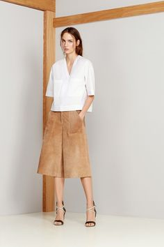 Two big trends for spring -- suede and the basic white shirt -- done wonderfully. Theory Spring 2015 RTW. #nyfw #Theory #spring2015
