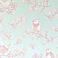 papier peint oiseaux turquoise majvillan dco chambre enfant originale - Papier Peint Fille