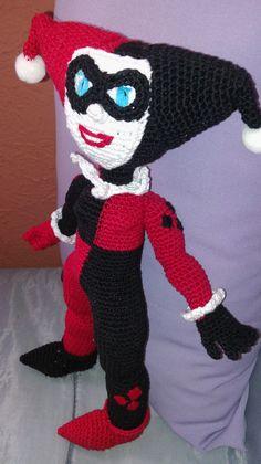 Amigurumi Harley Quinn, Chofisgurumi tejida a gancho, hecha a mano, hecha en México, Tonanitla.