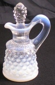 Opalescent Hobnail Glass Cruet & Stopper Vintage