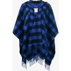 BALENCIAGA Wool Cashmere-Blend Check Poncho ($950) ❤ liked on Polyvore featuring outerwear, wool poncho, patterned poncho, balenciaga, open front poncho and wrap poncho