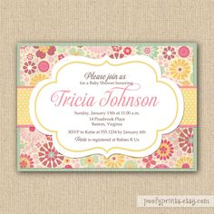 Pastel Flowers Baby Shower Invitations