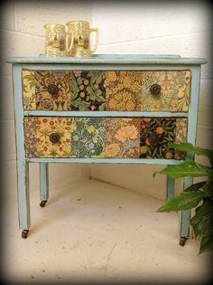 Brighten up an old chest with patchwork and paint.