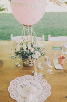 The hot air balloon inspired centerpieces were one of the bride's favorite wedding details. The romantic pastel floral arrangements, which r. Hot Air Balloon Centerpieces, Wedding Centerpieces, Wedding Decorations, Masquerade Centerpieces, Centrepieces, Wedding Balloons, Mod Wedding, Garden Wedding, Wedding Table