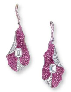 A Pair of Diamond and Pink Sapphire Ear Pendants, by Wallace Chan ~ Each designed as a stylized furled leaf, pavé-set with circular-cut pink sapphires and brilliant-cut diamonds, to the central rectangular-shaped diamond weighing approximately 1.43 and 1.37 carats, joined to the brilliant-cut diamond hook, mounted in titanium, 5.8 cm long ~ Signed Wallace Chan