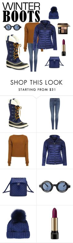 """cozy winter boots"" by ch3ll3y-styles ❤ liked on Polyvore featuring SOREL, 7 For All Mankind, TIBI, Barbour, Chanel, Martine et Bonal, Bobbi Brown Cosmetics and Lancôme"