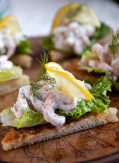 Shrimp and Dill Toast by Emma Bengtsson | his elegant shrimp salad on buttery toast is a Swedish classic, perfect for springtime entertaining or a light lunch. Aquavit chef Emma Bengtsson uses tiny pre-cooked shrimp from Sweden (available at IKEA or online): their delicate briny flavor is important to the dish, and an ingredient worth seeking out.
