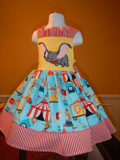 Blue Dumbo Bow Dress 8 by castleseamstress on Etsy