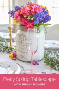 Spring flower arrangements are one of the easiest ways to add beautiful color to a seasonal tablescape to welcome the season of rebirth and renewal. French Country Christmas, Modern French Country, French Farmhouse Decor, French Home Decor, French Country Decorating, Vintage Home Decor, French Table Setting, Country Table Settings, Elegant Table Settings