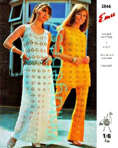 Vintage Crochet Pattern Maxi Dress Tabard Tunic Trousers Pants 1970s Retro INSTANT DOWNLOAD PDF Emu 2866 by VintageBeso