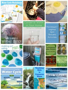 Hands-on Water Activites for Kids- learn about water conservation, water cycle, and do experiments with water.