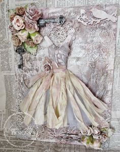 Angela Holt Designs: Mixed Media Canvas with Handmade Dress Tutorial