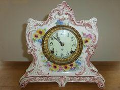 """Lot #50 - Antique Ansonia Mantle Clock w/ Royal Bonn """"La Lorne"""" Porcelain Case"""